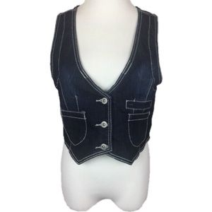 Amethyst Jeans Dark Wash Blue Denim Vest Smocked L